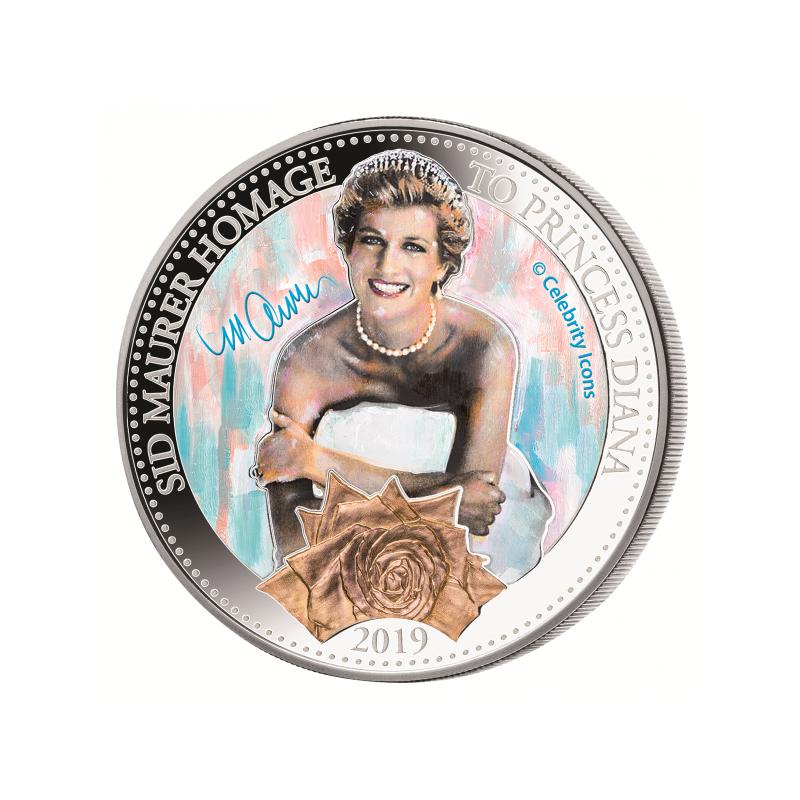 Диана, принцесса Уэльская-  Соломоновы Острова 5$ 2019 г. 99,9% серебряная монета, 31.1 г.