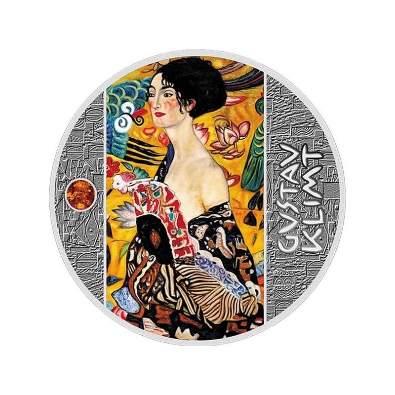 Женщина с веером Г. Климт Острова Ниуэ 2019 г. 1 $ 99,9% серебряная монета с цветной печатью, 17,5 гp.