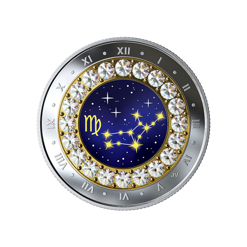 Знаки зодиака -Дева  -  Канада 5$ 2019 г. 99,99% серебряная монета с кристаллами Swarovski® 7.96 гp.