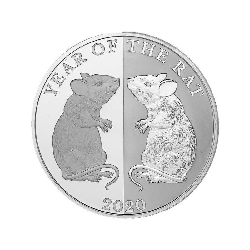 Год Крысы 2020  -Токелау 5$, 99.9% серебрянная монета с зеркальным изображением.  31.1 г.