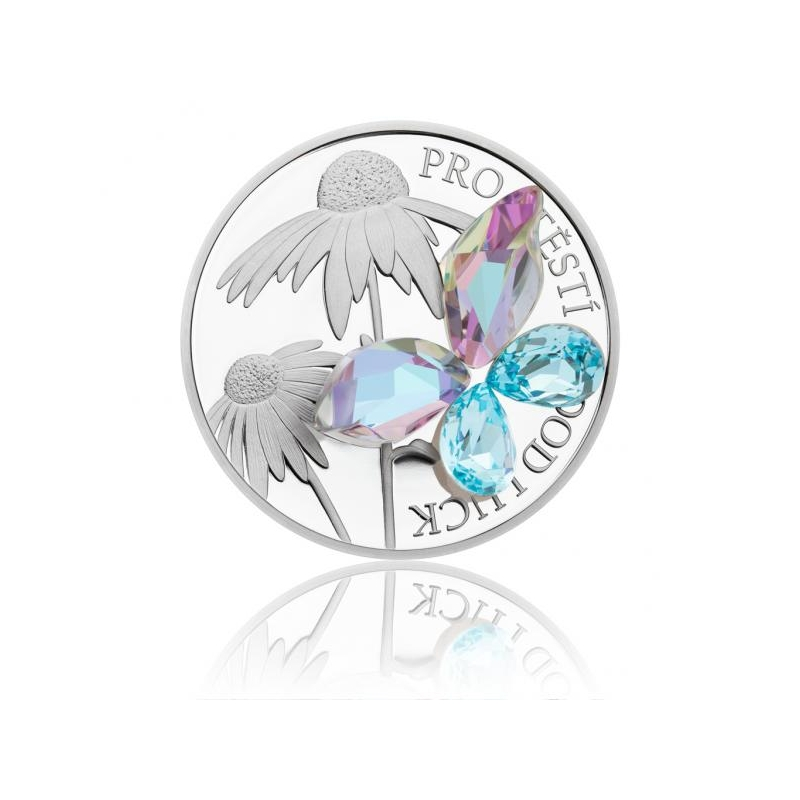 Удачи! - 2$ островов Ниуэ 2019 годa 99,9% серебряная монета с  Preciosa кристаллами, 31,1 г.