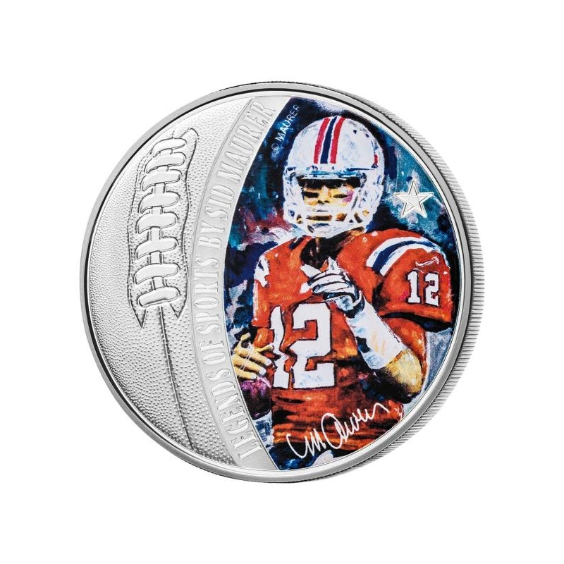 Легендарные спортсмены в творчестве Сида Маурера. Tom Brady-  Соломоновы Острова 5$ 2019 г. 99,9% серебряная монета, 31.1 г.