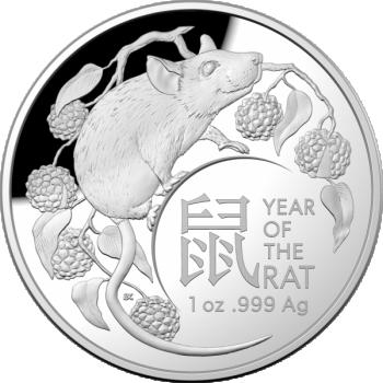 Roti aasta  - Austraalia 5 $ 2020.a. 1 untsine kuplikujuline  99,99% hõbemünt