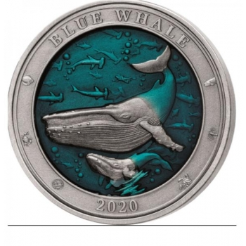 Underwater world series. Blue whale. Barbados 5$ 2020 99,9% silver coin with translucent blue enamel. 3 oz