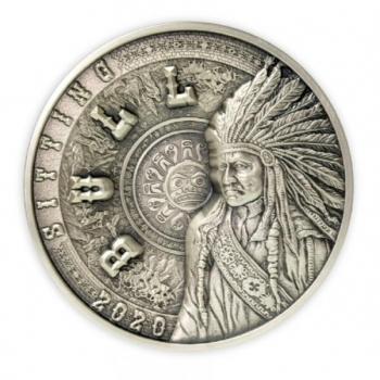 Сидящий Бык-  Самоа 25 $ 2020.г. 99.9% серебряная монета с антик обработкой. 1 килограмм