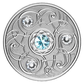 Sünnikuu õnnekivi. Märts - Kanada 5$ 2020.a. 99,99% hõbemünt Swarovski® kristallidega 7.96 g