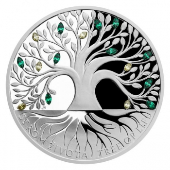 """Silver Crystal Coin - """"Tree of Life"""" Niue Island 2$ 2020. 99,9% silver coin with cut Bohemian crystal, 1 oz"""