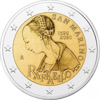 2 € юбилейная монета 2020 г. Сан -Марино - 500 лет со дня смерти Рафаэля Санти.