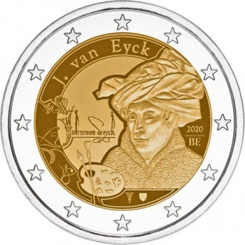 2 € юбилейная монета 2020 г.Бельгия  - Ян ван Эйк
