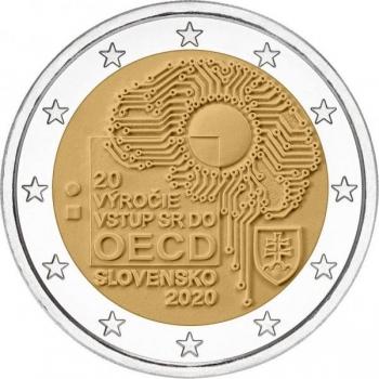 Slovakia 2€ erikoisraha 2020 - T0 vuotta Slovakian liittymisestä Taloudellisen yhteistyön ja kehityksen järjestöön (OECD)