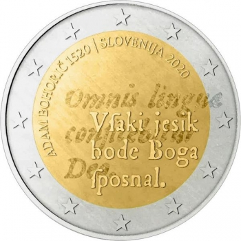 2 € юбилейная монета  2020 г. Словения  -500 лет со дня рождения Адама Бохорича