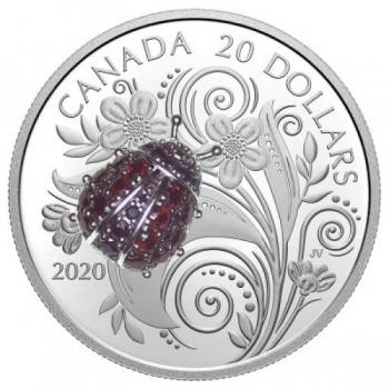 Leppäkerttu - Kanada  20 $ 2020 v. 99,99% , 1 unssi 99,9% hopearaha, granaattien ja safiirien koristettu