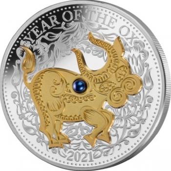 Härän vuosi 2021  Fiji 10 $ 99,9% hopearaha, 1 unssi, aito helmi ja kultaus