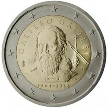 2 € юбилейная монета  2019 г. Италия - 450 лет со дня рождения Галилео Галилея