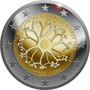 Cyprus 2€ commemorative coin 2020 – The 30th anniversary of the Cyprus Institute of Neurology and genetics
