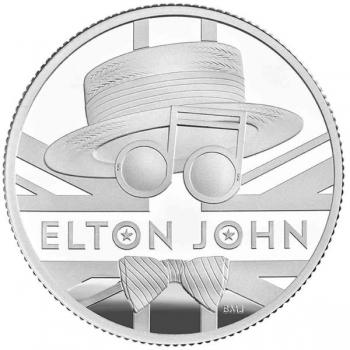 Elton John -Musiikkilegenda.  Iso-Britannia 5 £ 99,9%  hopearaha 15,71 g