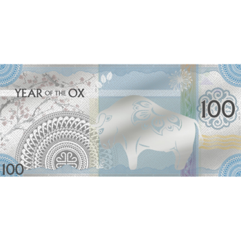 Lunar Year of the Ox 2021 Silvernote. Mongolia 100 Togrog 2021 99,9% silver, 5 g