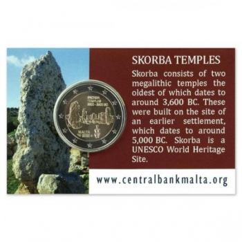 Malta 2€ commemorative coin 2020 - Unesco World Heritage Site – pre-historic temples of Skorba coin card