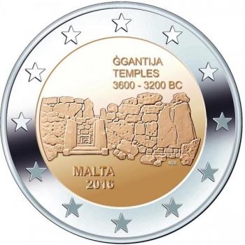 2 € юбилейная монета 2017 г. Мальта - Храмы Джгантия