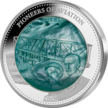 Pioneers of Aviation. Mother Of Pearl 5 Oz Silver Coin 25$ Solomon Islands 2021