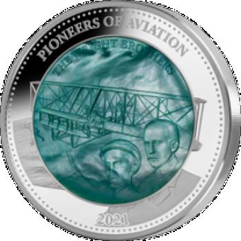 Lennunduse pioneerid - Vennad Wrightid - Saalomoni saarte 25$, 2021.a. 5-untsine 99,9% hõbemünt ehtsa  pärlikarbi sisuga