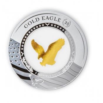 Ameerika Eagle kuldmündi  35. sünnipäev - Saalomoni Saarte  5 $ 2021.a. 2-untsine 99,99% hõbemünt klaasist konteineris kullast kotkaga
