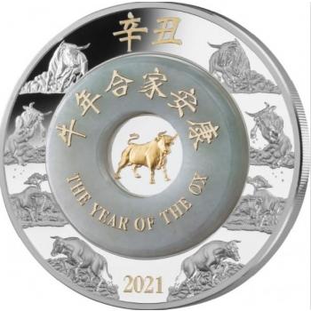 Pühvli aasta 2021 - Laose 2000 Kip, jadeiidi ja kullatisega 2-untsine 99,9% hõbemünt