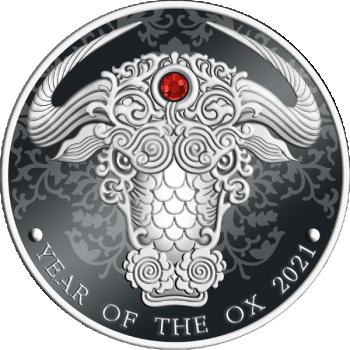 Pühvli aasta 2021 - Ghana 2 Cedi 2021.a. 1/2-untsine 99,9% hõbemünt punase kristalliga