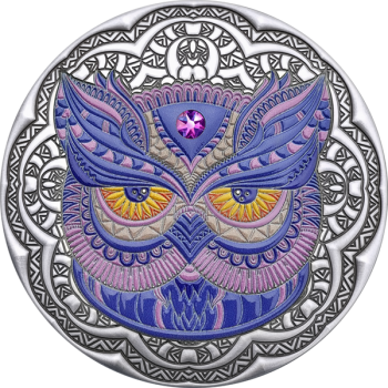 Pöllö Mandala-kokoelma - Niue saarivaltio 5 $  2020 v. 2 unssi 99,9% hopearaha väripainatuksella, Swarovski® kristalli, antiikkipatinointi