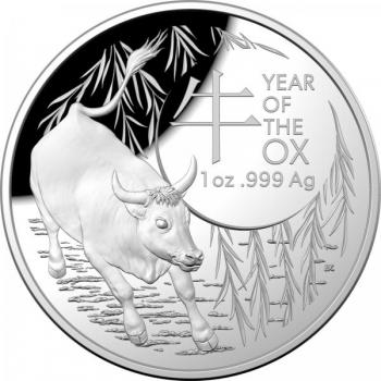 Härän vuosi 2021 - Australia 5 $ 99,9% hopearaha, 1 unssi