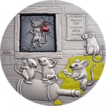 Кошки ушли, вечеринка мышей! Пословицы и поговорки - государства Палау 10$ 2020.г. 99,9% серебряная монета с цветной печатью, с антик обработкой. 62.2 г