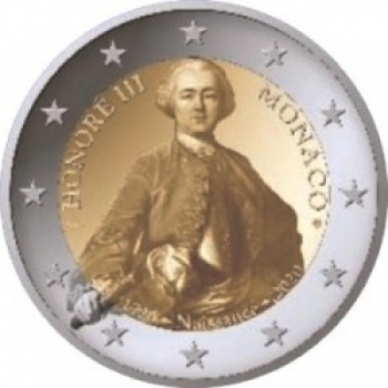 2 € юбилейная монета Монако 2020 г. -  300 лет со дня рождения Оноре III