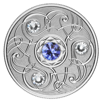 Sünnikuu õnnekivi. September. Kanada 5$ 2020.a. 99,99% hõbemünt Swarovski® kristallidega 7,96 g