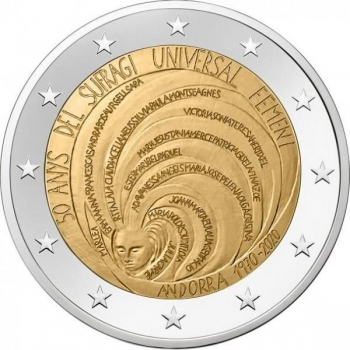 2 € юбилейная монета 2020 г.  Андорра  - 50 лет всеобщего избирательного права женщин в Андорре