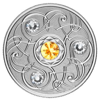 Sünnikuu õnnekivi. November - Kanada 5$ 2020.a. 99,99% hõbemünt Swarovski® kristallidega 7,96 g