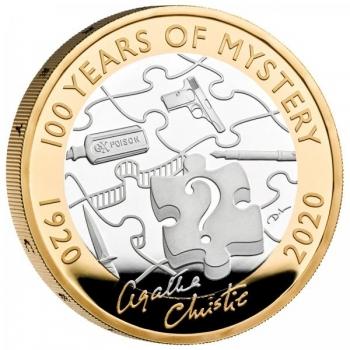 Agatha Christie. 100 vuotta mysteriaa. Isobritannia 2£ 2020  92,5% hopearaha