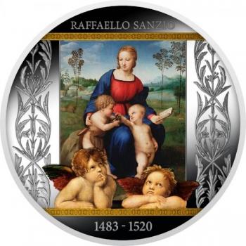 """500 vuotta Rafaelin kuolemasta.  """"Madonna tikli""""-  500 Fr 2020 99,9% hopearaha väripainatuksella, 17,5 g"""