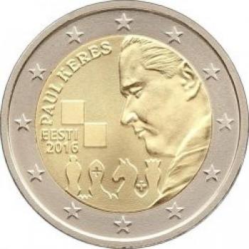 Eesti 2016 a 2€ juubelimünt Eesti male kuulsa suurmeistri Paul Kerese 100. sünniaastapäev