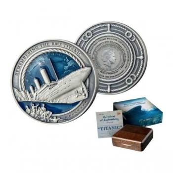 Titanic - Saalomoni saarte 10$ 2020.a. 3 untsine antiikviimistluse ja emailiga 99,9% hõbemünt