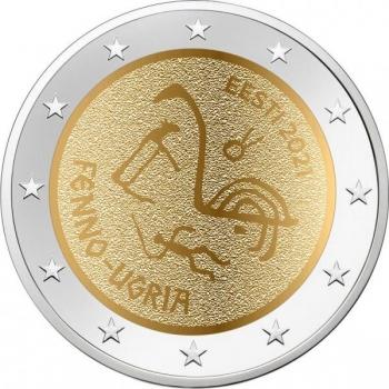 2 € юбилейная монета 2021 г. Эстония - Финно-угорские народы