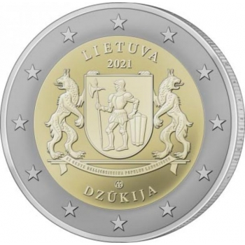 2 € юбилейная монета 2021 г. Литва -Регион Дзукия (серия «Литовские этнографические регионы»)