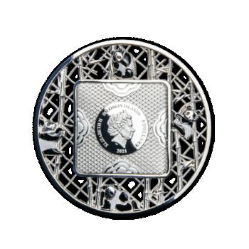 Filigraantehnikas Panda - Saalomoni Saarte  5 $ 2021.a. 2-untsine 99,9% hõbemünt