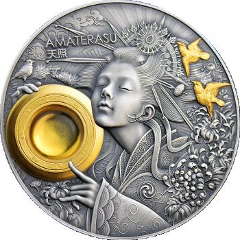 AMATERASU - Päikesejumalanna -  Niue Saarte 5 $ 2021.a.  antiikviimistlusega värvitrükis 3-untsine 99.9% hõbemünt kullatise ja merevaiguga