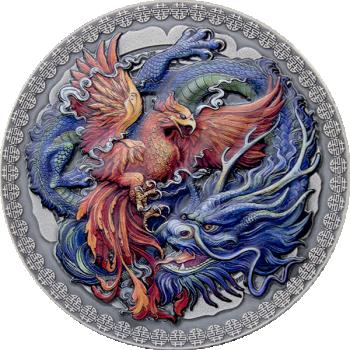Феникс и Дракон. Гана. 10 седи 2020 г.  99,9% серебряная монета с антик обработкой и  цветной печатью 50 г.