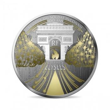 Champs-Élysées. Ranska 10€ 2020.v. 90 % hopearaha, 22.2 g
