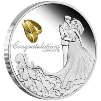 """""""С наилучшими пожеланиями в день свадьбы """" – Австралия 1 $ 2021 г. 99,99% серебряная монета с позолотой 31,8 гp."""