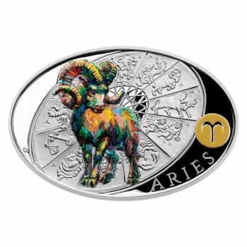 Silver coin Sign of Zodiac - Aries. Niue 1 $ 2021 99,9% silver coin 1 oz