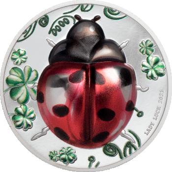 """""""Божья коровка"""" - Палау.5$ 2021 г. 99,9% серебряная монета с с цветной печатью, 1 унция"""
