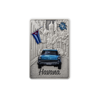 """Splash of Colour"" City Edition. Havana. Samoa 5$ 2021 Antique finish 99,9% silver coin, 2 oz"