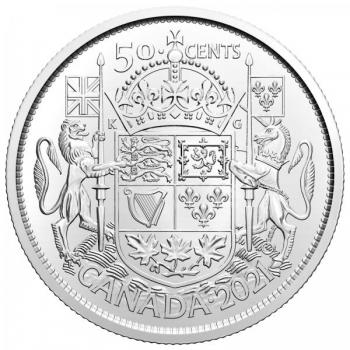 Канада, 50 центов 2021 г.- 100 лет со дня введения герба Канады